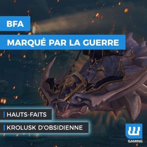 World of Warcraft, Battle for Azeroth, Donjons WoW BFA, Gloire au héros marqué par la guerre, Boost WoW, Boosting WoW PvE, Boost World of Warcraft BFA, Boost Gloire WoW, Rênes du krolusk d'obsidienne, Monture WoW Battle for Azeroth, Nouveautés WoW BFA, Reins of the Obsidian Krolusk